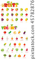 Vector fruits and vegetables icon set 45782876