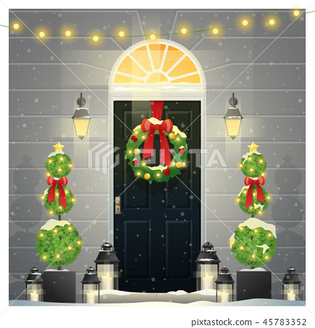Decorated Christmas front door background 45783352