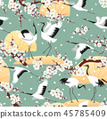 Seamless pattern with Japanese Cranes and Blossoms 45785409
