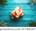 Christmas gift boxes on green background 45786287