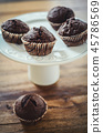 Mini chocolate muffins on white plate.  45786569