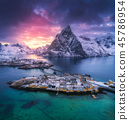 Aerial view of Hamnoy at dramatic sunset in winter 45786954
