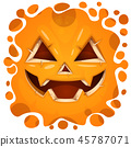 Funny, cute crazy pumpkin character. Halloween illustration. For printing on T-shirts. 45787071