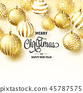 Christmas Background With Tree Balls And Snow. Golden Ball. New Year. Winter holidays. Season Sale 45787575