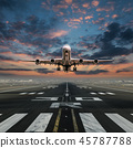 Airplane taking off from the airport. 45787788