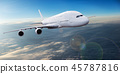 Big airplane flying above dramatic clouds. 45787816