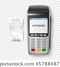Vector Realistic Silver 3d Payment Machine. POS Terminal with Receipt Closeup Isolated. Design 45788487