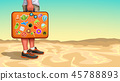 tourist holding case full of stickers 45788893