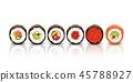 sushi lying on white 45788927