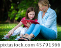 Happy mother and little kid daughter in park. 45791366
