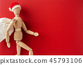 wooden santa claus mannequin hold empty red board 45793106