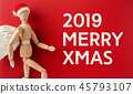 wooden santa claus mannequin hold empty red board 45793107