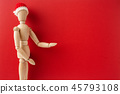 wooden santa claus mannequin hold empty red board 45793108