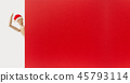 wooden santa claus mannequin hold empty red board 45793114