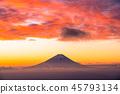 """山山縣""""從富士山和山的黎明。 45793134"""