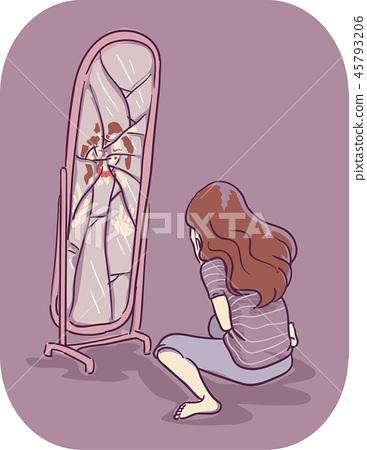 Girl Symptom Hate Self On Mirror Illustration 45793206