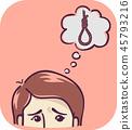 Symptom Suicidal Thought Illustration 45793216
