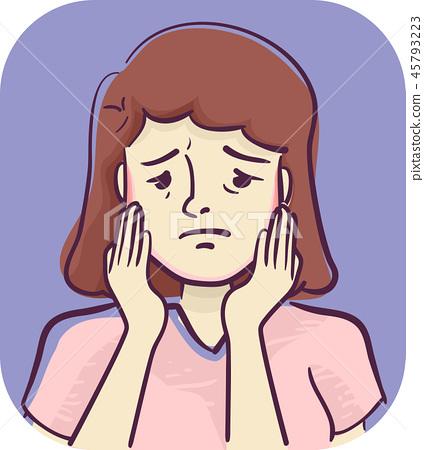Symptoms Soreness Of Jaw Illustration 45793223