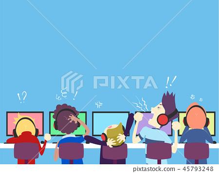 Teens Boys Team Online Gamers Losing Illustration 45793248