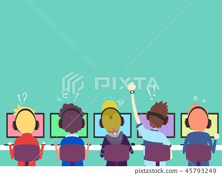 Teens Boys Team Online Gamers Back Illustration 45793249