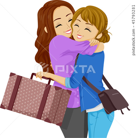 Teen Girls Friend Travel Hug Illustration 45793281