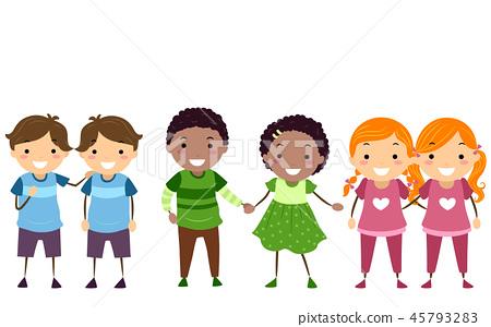 Stickman Kids Different Twins Illustration 45793283