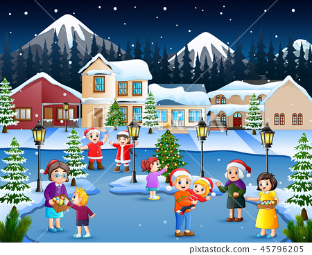 Happy kid and family playing in snowing village 45796205