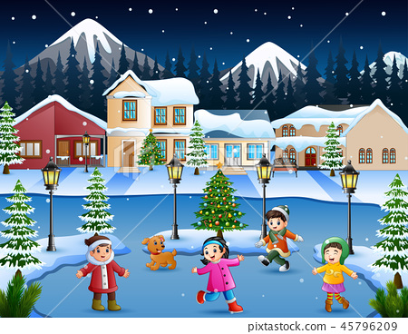 Cartoon of happy kid playing in the snowing villag 45796209