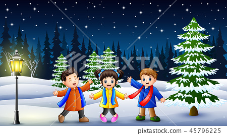 Happy kids playing in winter landscape at night 45796225