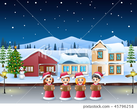 Group of kids in red santa costume singing 45796258