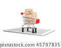 Shopping cart full of boxes on digital tablet 45797835