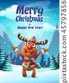 Vector illustration the cartoon deer greeting card 45797856