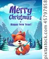 Vector cartoon bright illustration the funny fox 45797858
