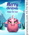 Vector illustration the girl pig greeting card 45797861