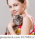 Cute smiling little girl holds funny gray chinchilla. 45798012
