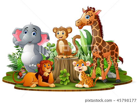 Happy animals cartoon in the park with green plant 45798177