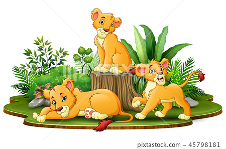 Group of lion cartoon in the park with green plant 45798181