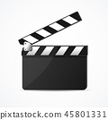 Realistic 3d Detailed Black Clapper Clean Template. Vector 45801331