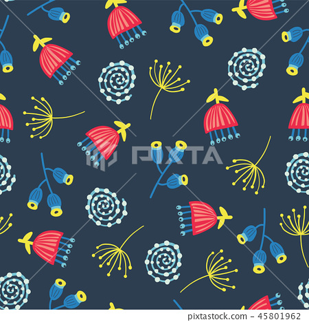 Retro florals seamless vector background. 1960s, 1970s flowers. Red, blue, and yellow doodle flowers 45801962
