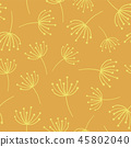 Yellow abstract flowers seamless vector background. Wildflowers. Scandinavian style. 45802040