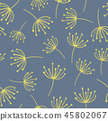 Yellow abstract flowers on blue seamless vector background. Wildflowers. Scandinavian style. 45802067