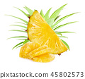 Pineapple slices isolated on white background 45802573