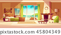 panorama of villa interior. Bedroom of tropical hotel, resort, tourism concept 45804349