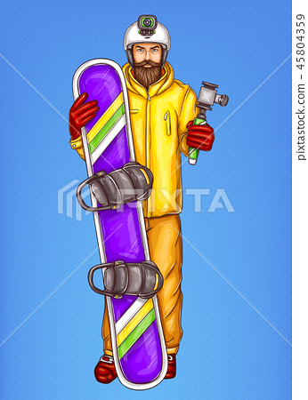 Pop art snowboarder man sketch illustration of hipster adult bearded guy holding snowboard in winter 45804359