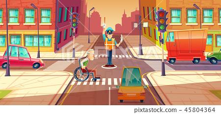 illustration of crossing guard adjusting transport moving, city crossroads with pedestrian 45804364