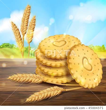 realistic wheat cookies packaging ad 45804371