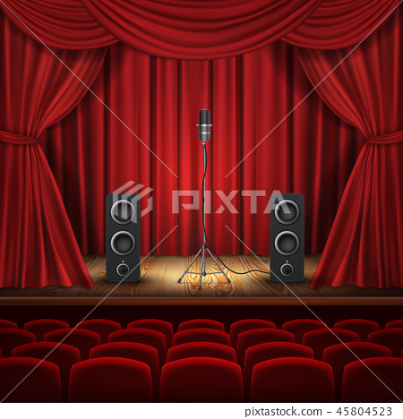 theater hall, stage with microphone, loudspeakers 45804523