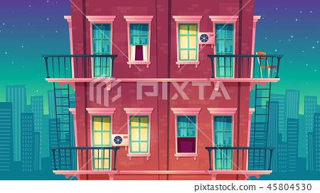 multi-storey apartment at night, house outside concept, private building 45804530