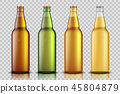 Set of Realistic glass beer bottle with liquid isolated on transparent background. blank beer bottle 45804879