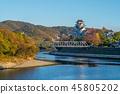 Okayama Castle (Ujo) by river asahi in japan 45805202